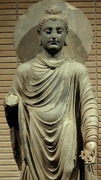 standing buddha, gandharan style