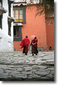 two monks walkling
