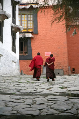 Two monks walking