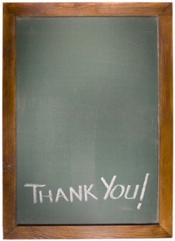 Thank You text on green blackboard with copy space
