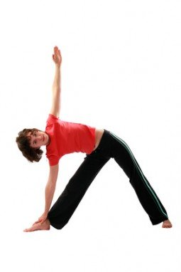Yoga poses series. Trikonasana. The Triangle Pose.
