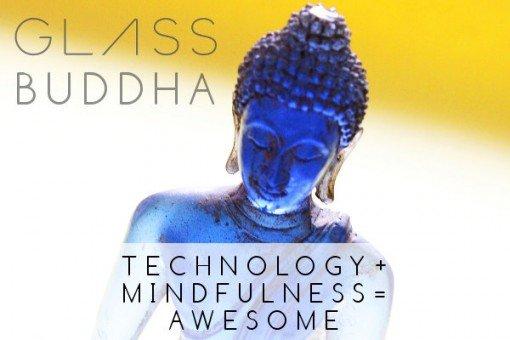 Blue glass buddha statue on a yellow background