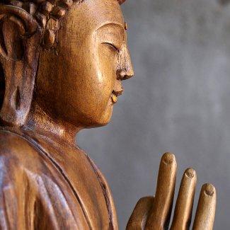 Wooden buddha statue, on black cement background