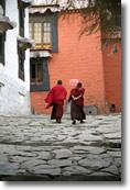 two monks walkling