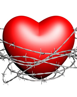 Heart surrounded by barbed wire
