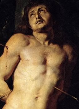 St Sebastian pierced by arrows