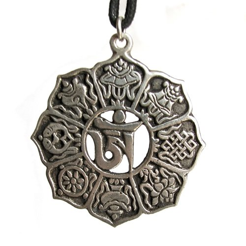 Om Pendant With Eight Auspicious Symbols