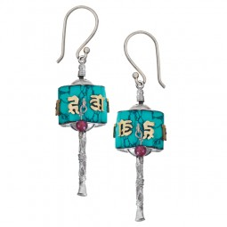 Prayer Wheel Earrings, Turquoise and Silver